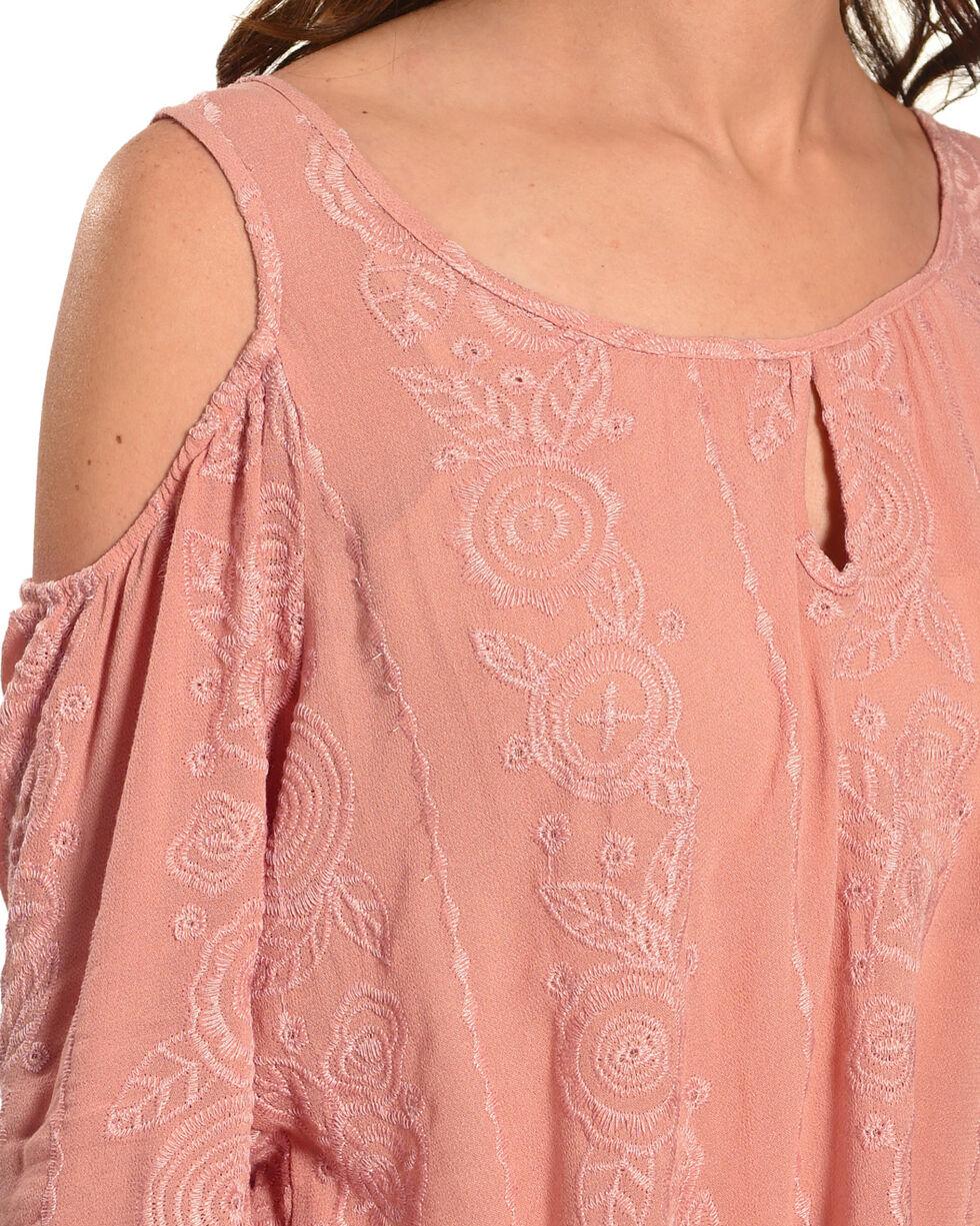 Luna Chix Women's Mauve Embroidered Cold Shoulder Top, Mauve, hi-res