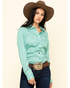 Cinch Women's Green Geo Print Button Down Long Sleeve Western Shirt, Green, hi-res