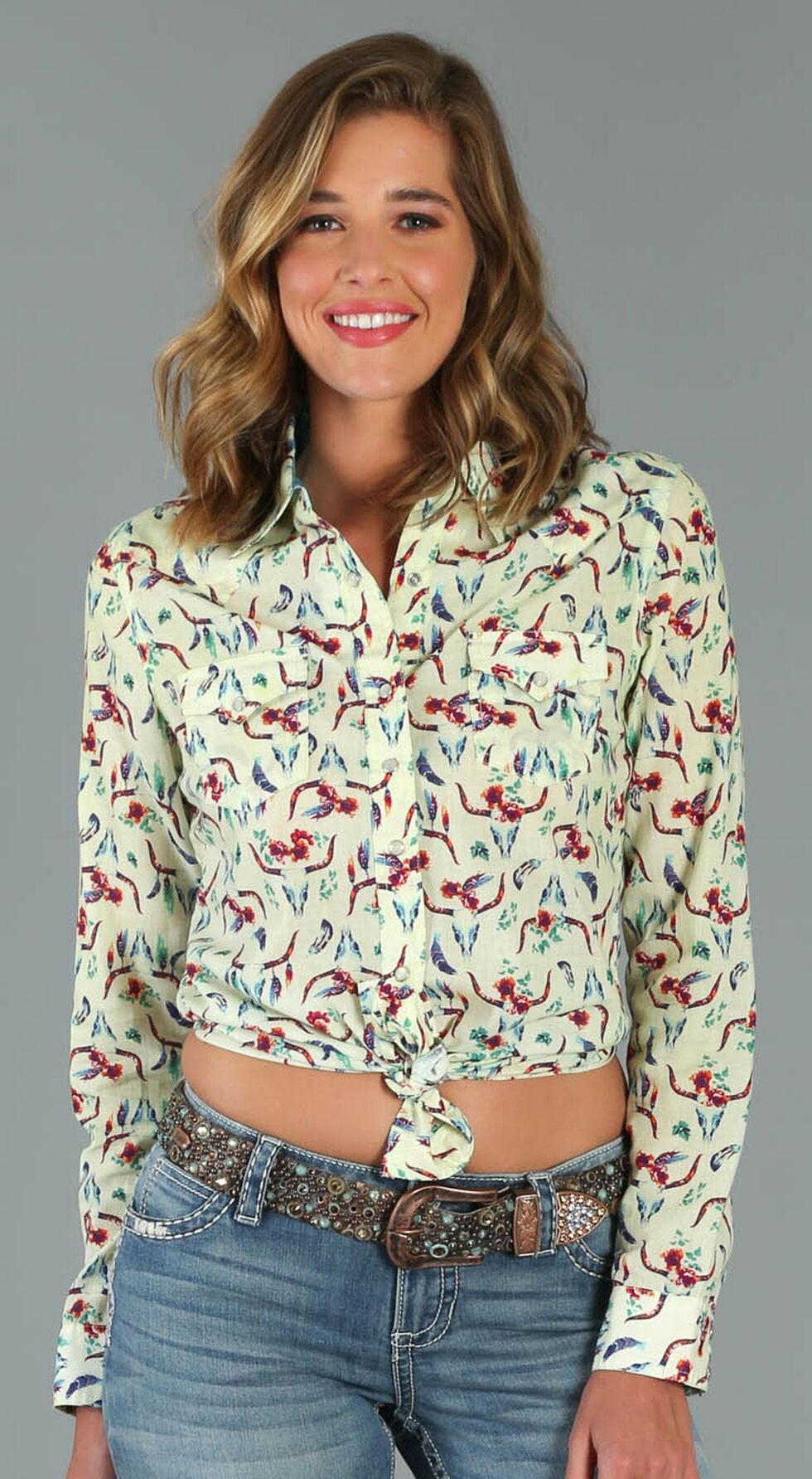 Wrangler Women's Long Sleeve Steer Print Snap Shirt, Multi, hi-res