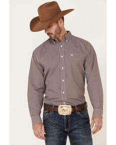 Ariat Men's Wrinkle Free Orson Small Check Plaid Long Sleeve Button-Down Western Shirt , Burgundy, hi-res