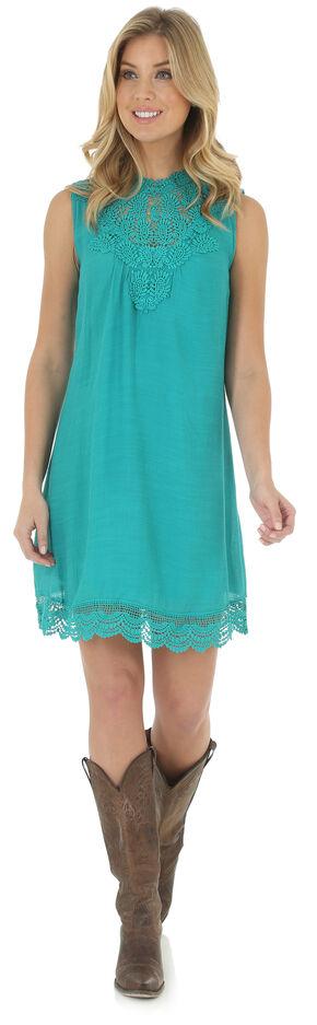 Wrangler Women's Medium Blue High Collar Pieced Crochet Dress , Med Blue, hi-res