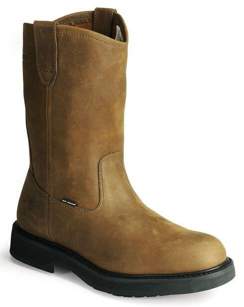 Wolverine Ingham DuraShocks wellington work boots, Dark Brown, hi-res