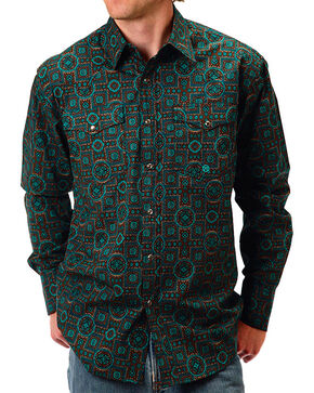 Roper Men's Tapestry Printed Long Sleeve Shirt, Turquoise, hi-res