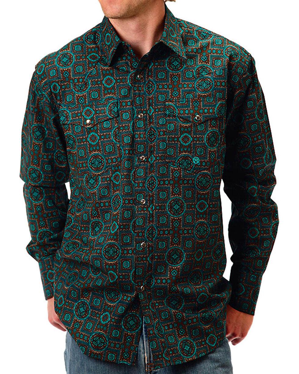 Roper Men's Tapestry Printed Long Sleeve Shirt, Turquoise, hi-res