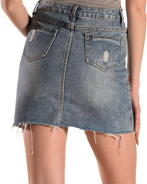 Sage the Label Women's Floral Embroidered Denim Skirt, Blue, hi-res