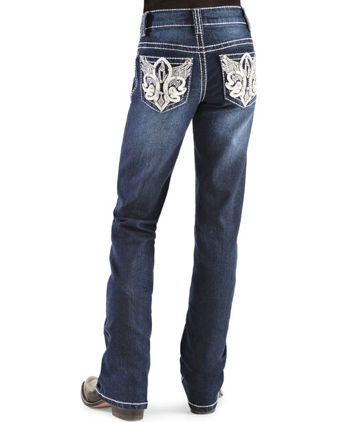 Red Ranch Girls' Fleur de Lis Wings Bootcut Jeans - 4-6X, Denim, hi-res