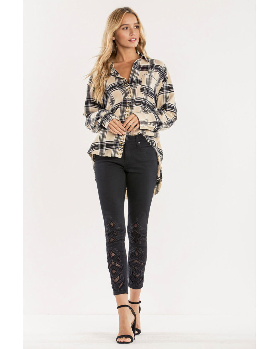 Miss Me Women's Taupe Studded Plaid Button Top , Taupe, hi-res