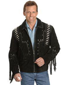 Liberty Wear Bone Fringed Leather Jacket - Big & Tall, Black, hi-res