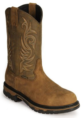 Laredo Waterproof H2O Western Work Boots - Soft Toe, Tan Distressed, hi-res