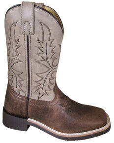 Smoky Mountain Boys' Bowie Western Boots - Square Toe, Brown, hi-res