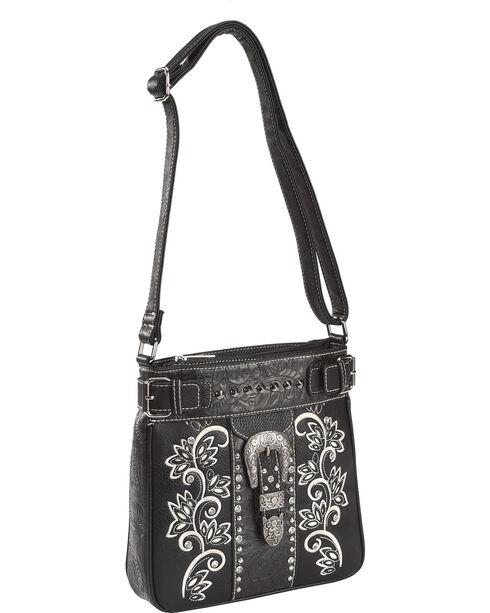 Savana Women's Black Embroidered Messenger Bag , Black, hi-res