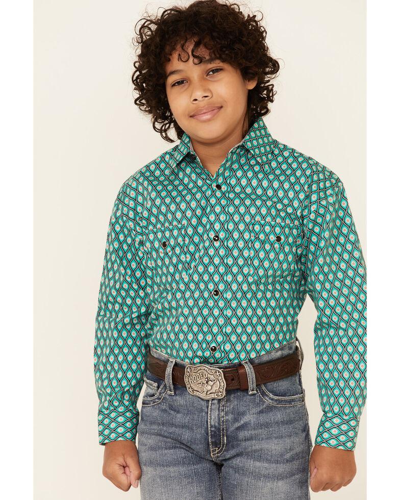 Panhandle Select Boys' Emerald Geo Print Long Sleeve Western Shirt , Green, hi-res