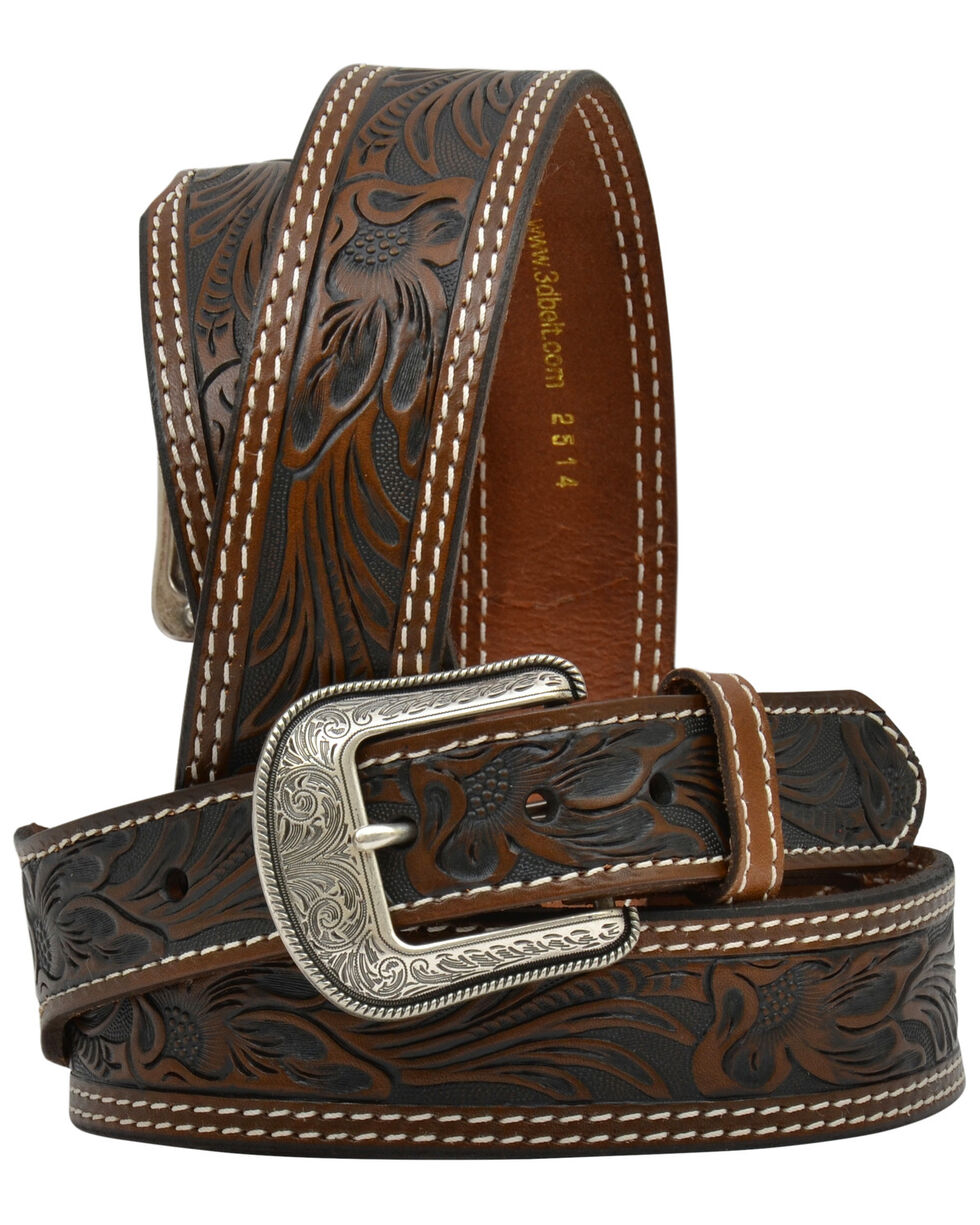 3D Men's Floral Tooled Leather Fashion Belt, Brown, hi-res
