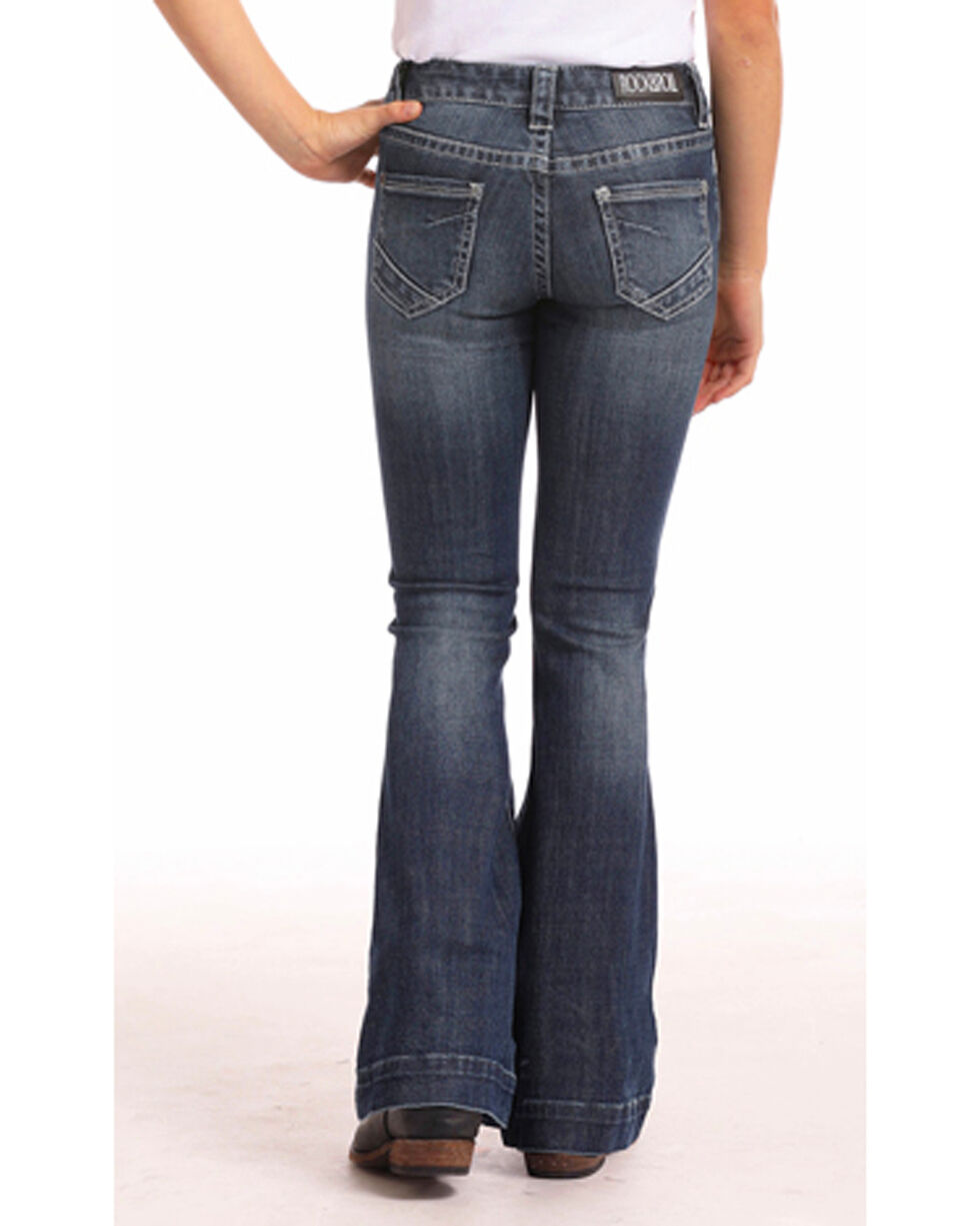 Rock & Roll Cowgirl Girls' Basic Stitch Trouser Jeans (4-16), Indigo, hi-res