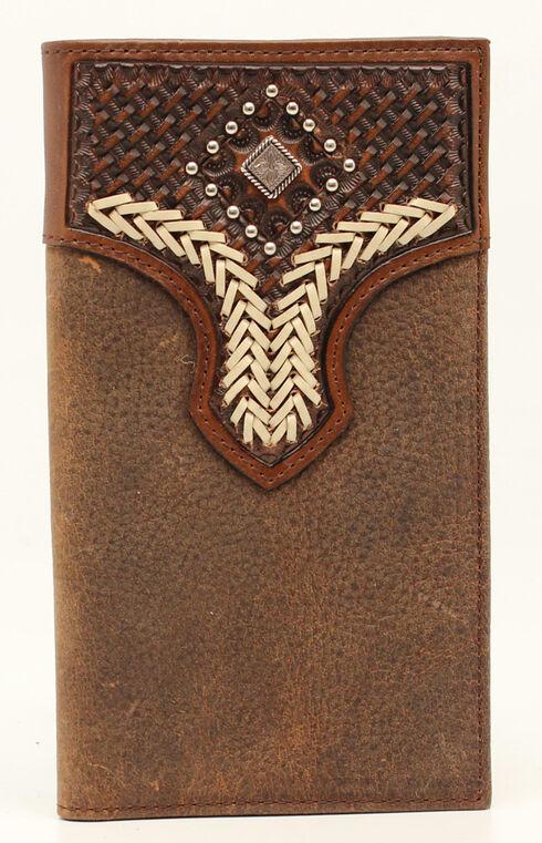 Nocona Lacing Diamond Rodeo Wallet, Med Brown, hi-res