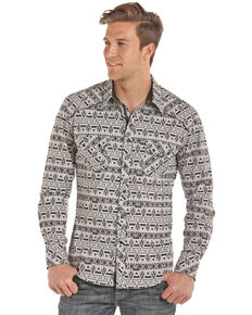 Rock & Roll Denim Men's Aztec Chambray Print Long Sleeve Western Shirt , Black, hi-res