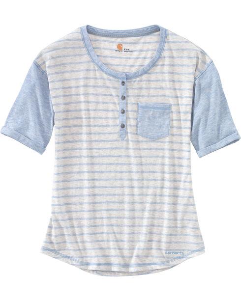 Carhartt Women's Blue Reagan Henley Shirt , Blue, hi-res
