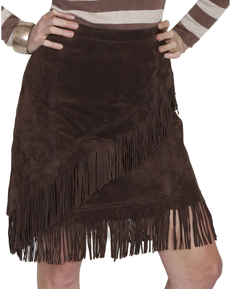 Scully Short Fringe Boar Suede Skirt, Chocolate, hi-res