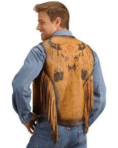 Kobler Leather Vest with Bull Skull Design, Beige, hi-res