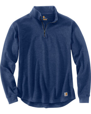 Carhartt Men's Tilden Long Sleeve Mock Neck Quarter Zip Sweatshirt, Dark Blue, hi-res