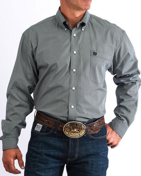 Cinch Men's Grey & White Geo Print Western Button Down Shirt, Multi, hi-res