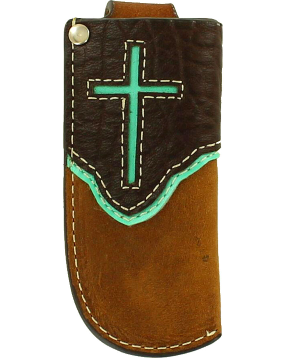 Nocona Light Blue Overlay and Cross Knife Sheath , Turquoise, hi-res