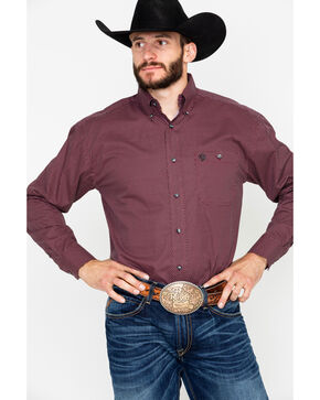 George Strait by Wrangler Men's Wine Adjustable Long Sleeve Western Shirt, Wine, hi-res