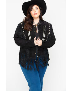 Liberty Wear Bone Bead & Fringe Leather Jacket - Plus, Black, hi-res