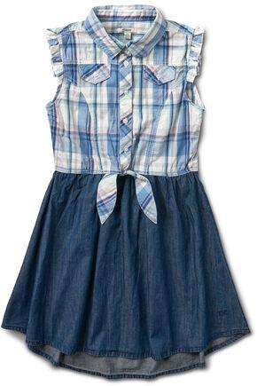 Silver Girls' Blue Half Plaid Dress, Blue, hi-res