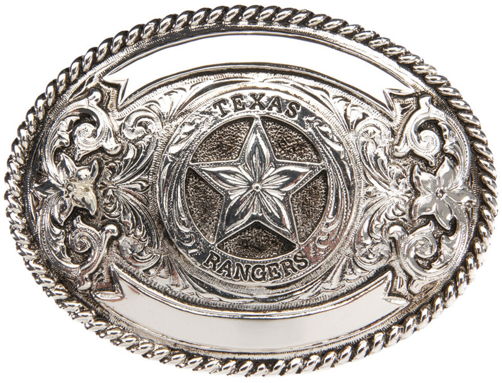 """AndWest """"Texas Ranger"""" Silver Plate Belt Buckle , Silver, hi-res"""