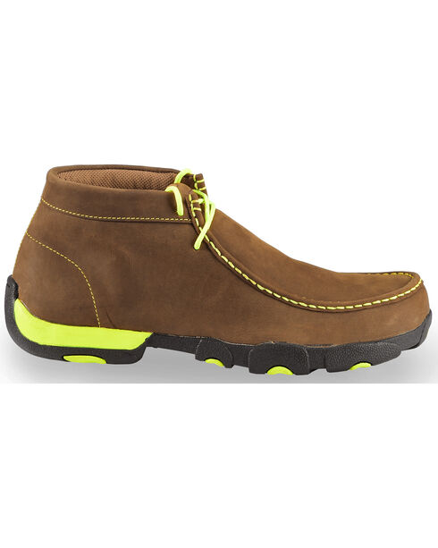 Twisted X Men's Brown & Neon Yellow Lace-Up Driving Mocs - Steel Toe , Brown, hi-res