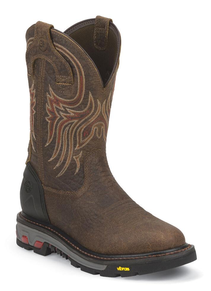 Justin Men's Pumpjack Mahogany Electrical Hazard Work Boots - Soft Toe, Mahogany, hi-res