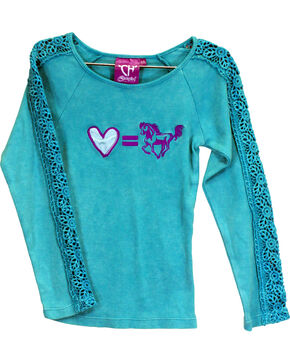 Cowgirl Hardware Girls' Turquoise Love Equals Horses Lace Shirt , Turquoise, hi-res