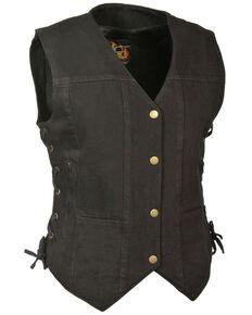 Milwaukee Leather Women's 6 Pocket Side Lace Denim Vest - 5X, Black, hi-res