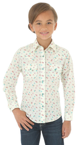 Wrangler Girls' Cream Double Pocket Snap Print Shirt , Cream, hi-res
