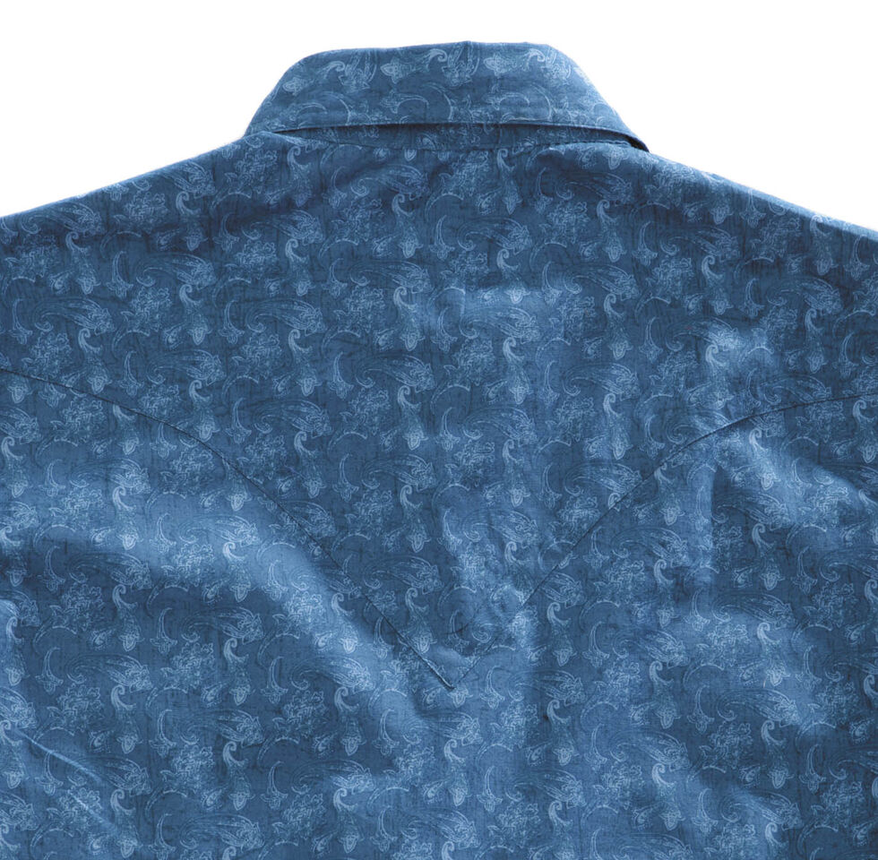 Tin Haul Men's Distressed Paisley Print Snap Western Shirt, Blue, hi-res