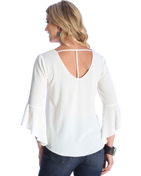 Wrangler Women's Cream Strappy Back Bell Sleeves Top , Cream, hi-res