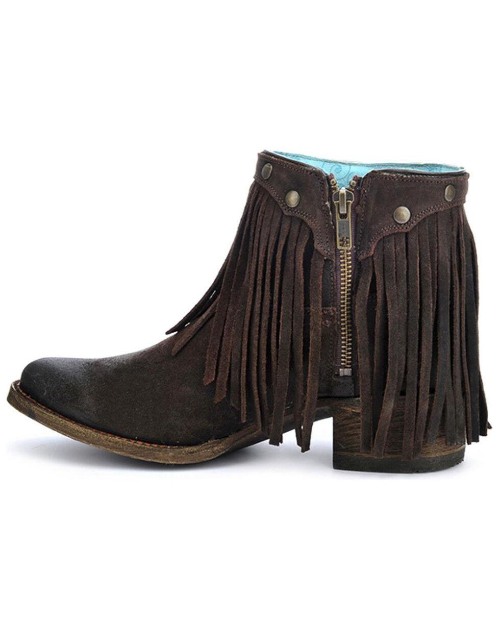 Corral Women's Fringe Booties - Round Toe, Brown, hi-res