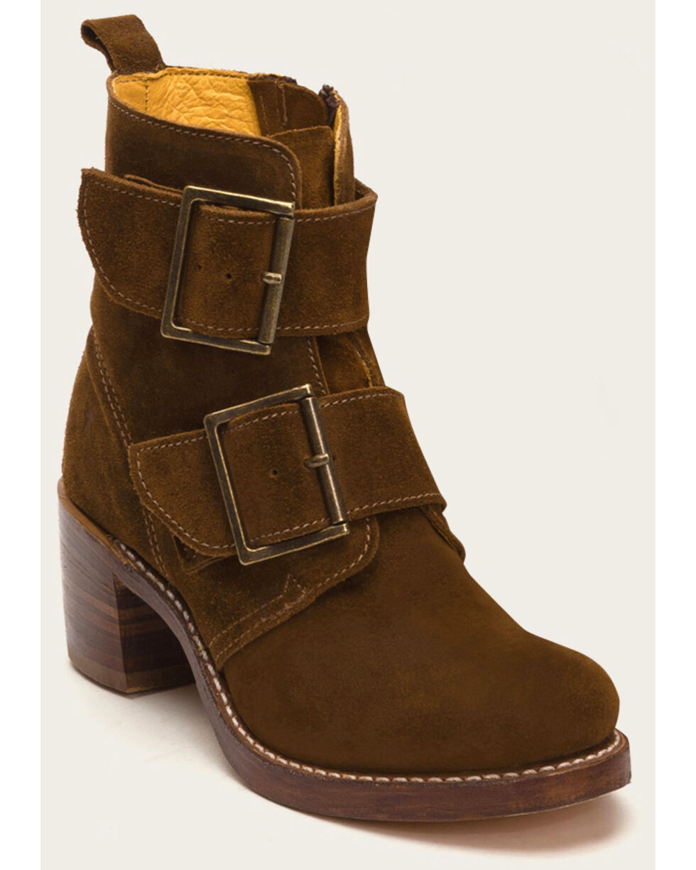 Frye Women's Sabrina Double Buckle Booties - Round Toe, Lt Brown, hi-res