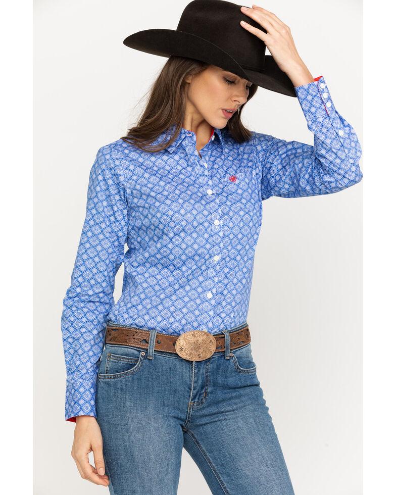 c1ea1805 Zoomed Image Ariat Women's Kirby Stretch Amparo Print Long Sleeve Western  Shirt , Light Blue, hi-