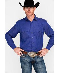 c23c7408 Resistol Mens Caldwell Solid Long Sleeve Western Shirt , Dark Blue, hi-res