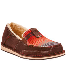 Ariat Women's Southwestern Serape Cruiser Fleece Slip On Shoes - Moc Toe, Chocolate, hi-res