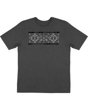 Wrangler Men's Aztec Screen Print Short Sleeve Tee, Charcoal, hi-res