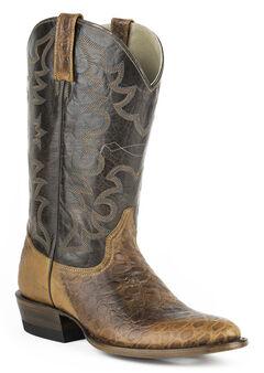 Roper Sea Turtle Print Tall Cowboy Boots - Round Toe, Brown, hi-res