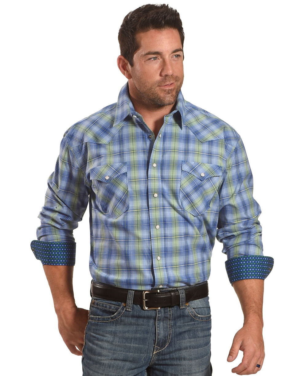 Rough Stock by Panhandle Men's Blue Rockford Plaid Shirt , Blue, hi-res