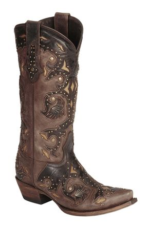 Lucchese Handmade 1883 Studded Fiona Cowgirl Boots - Snip Toe, Cafe, hi-res