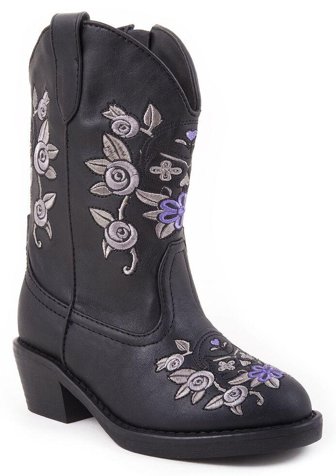 Roper Toddler Girls' Floral Embroidered Cowgirl Boots, Black, hi-res