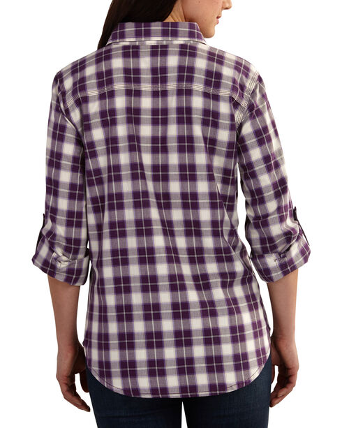 Carhartt Women's Dodson Plaid Long Sleeve Shirt, Purple, hi-res