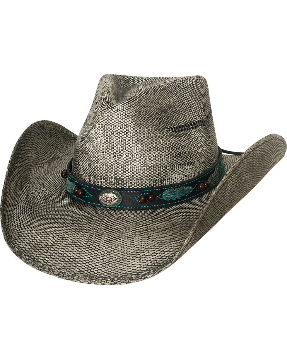 Bullhide Men's Black Rampage Feather Band Straw Hat , Black, hi-res