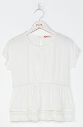 Miss Me Girls' Let It Fray Top , White, hi-res